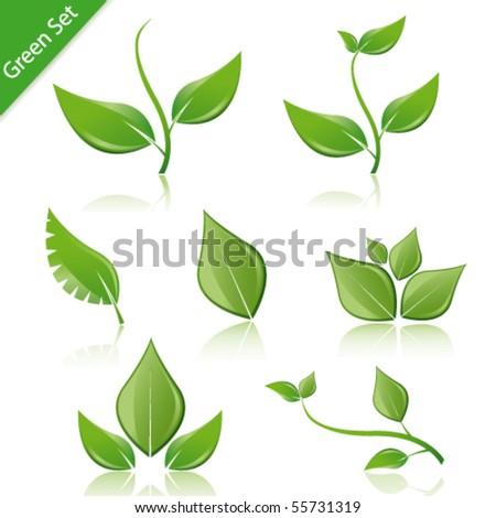 vector green set - stock vector