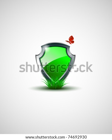 Vector Green shield with butterfly - stock vector