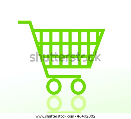 vector green shopping cart or basket isolated on white background - stock vector