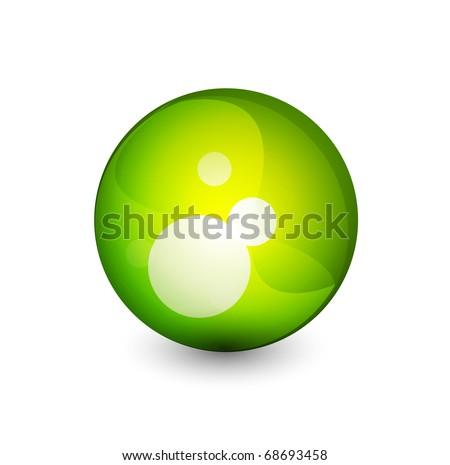 Vector green sphere button - stock vector
