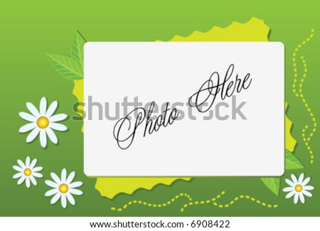 vector green summer frame with camomile - stock vector