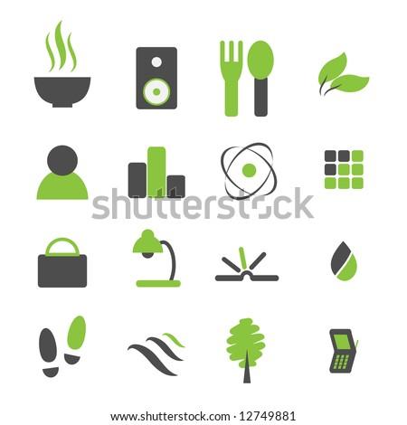 Vector - Green symbol icon set for modern company logo. - stock vector