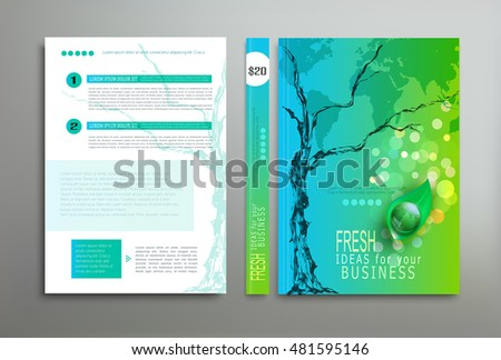Vector green template: cover, flyer, brochure, book, report business