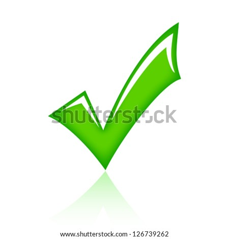 Vector green tick - stock vector