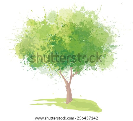 Vector green tree isolated. - stock vector