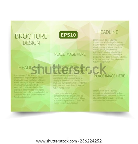 Vector green tri-fold brochure design template with abstract geometric background. Tri-Fold Mock up & back Brochure Design with triangles. Vector design illustration EPS10 - stock vector