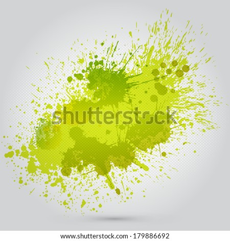 Vector green vintage watercolor texture with blots - stock vector
