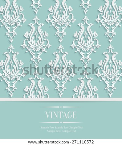 Vector Green Vintage Wedding or Invitation Background with 3d Floral Damask Pattern - stock vector