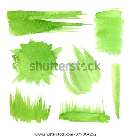 vector green watercolor labels and shapes, strokes, grass on a white background, hand drawn stains set - stock vector