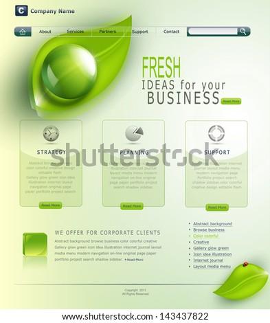 Vector green website - stock vector