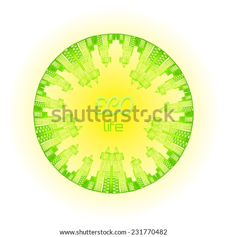 Vector green world concept. Green world, green planet, go green. Green watercolor buildings and houses. - stock vector
