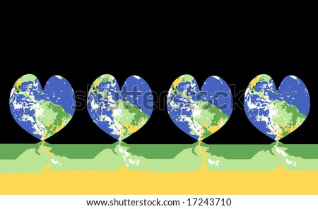 Vector Green World, Protect And Nurture Concepts - stock vector
