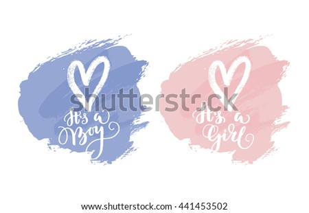 Vector greeting card, baby shower card, baby announcement card design element, it's a boy lettering, it's a girl lettering - stock vector