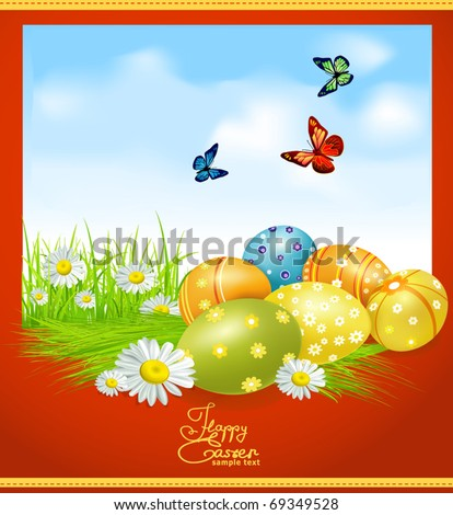vector greeting card for Easter with Easter eggs and greens - stock vector