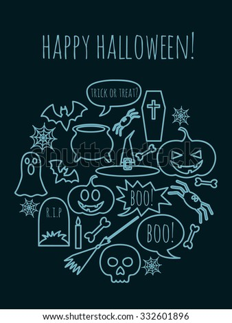 vector greeting card for Halloween with holiday symbols and text Happy Halloween text above - stock vector