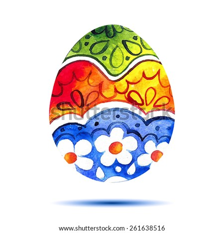 Vector greeting card Happy Easter, watercolor colourful easter egg with shadow - stock vector