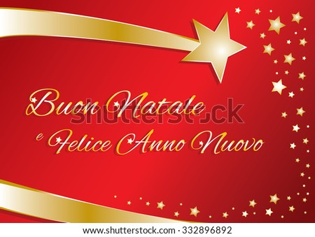 vector greeting card merry christmas and happy new year in italian red and gold with calligraphic - Merry Christmas And Happy New Year In Italian