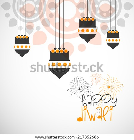 Vector greeting card or background, flyer,brochure, magazine cover for Diwali festival with artistic hanging  Kandil can be used for print and publishing. - stock vector