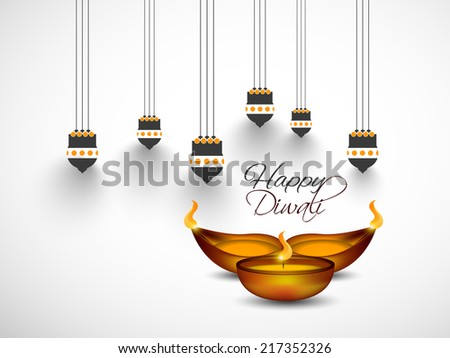 Vector greeting card or background, flyer,brochure, magazine cover for Diwali festival with Hanging Kandil and oil lamp can be used for print and publishing. - stock vector