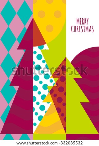 Vector greeting card template. Christmas tree with geometric pattern, abstract holiday background. Trendy concept for New Year celebration, party invitation. Flyer, banner, poster design. - stock vector
