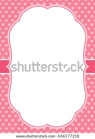 Vector greeting card template white frame stock photo photo vector vector greeting card template with a white frame on small hearts background card template for m4hsunfo