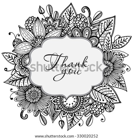 Vector Greeting card template with hand drawn doodle fancy flowers on white background - stock vector