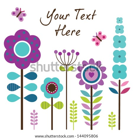 Vector Greeting Card Template Retro Style Stock Vector 144095815