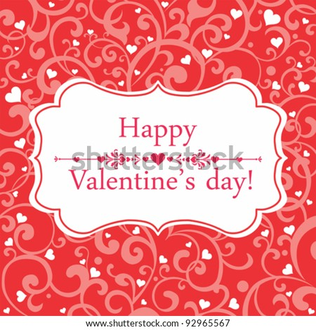 Vector greeting card Valentin`s Day. - stock vector