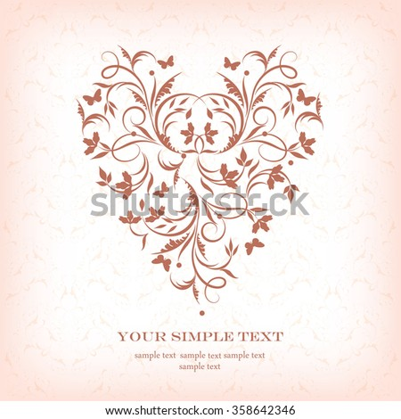 Vector greeting card. Valentine Day.Wedding card .
