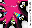Vector greeting card with a penguins - stock photo