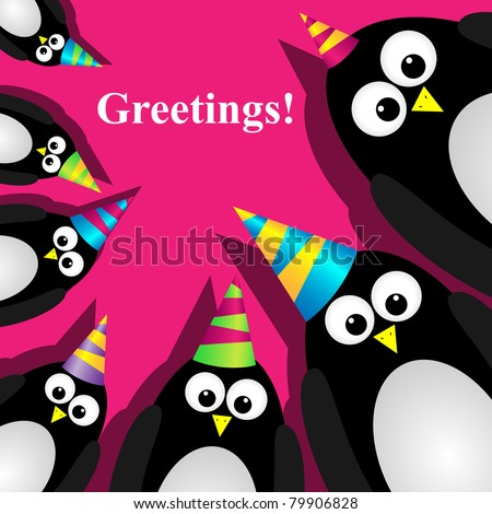 Vector greeting card with a penguins - stock vector