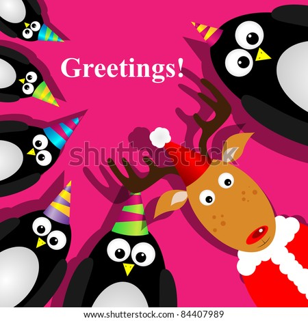 Vector greeting card with a penguins