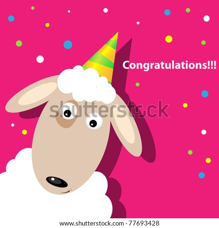 Vector greeting card with a sheep - stock vector