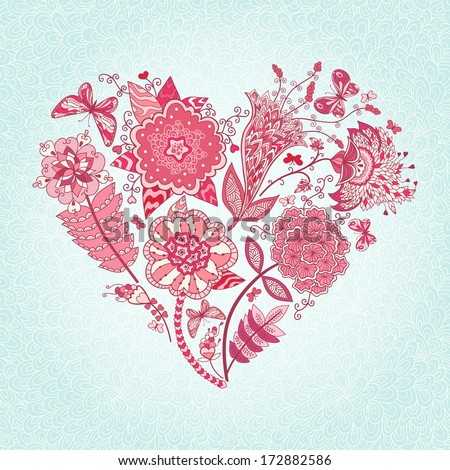 Vector greeting card with abstract flowers and butterflies. Heart of flowers. - stock vector