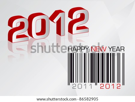 Vector greeting card 2012 with barcode - stock vector