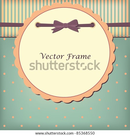 Vector greeting card with bow - stock vector