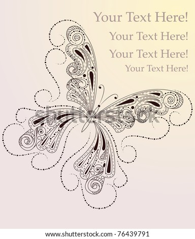 vector greeting card with butterfly and place for your text - stock vector