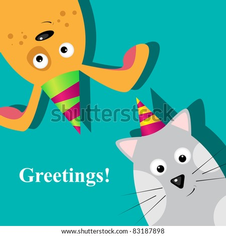 Vector greeting card with dog and cat - stock vector