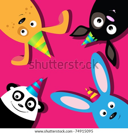 Vector greeting card with dogs, rabbit and panda - stock vector