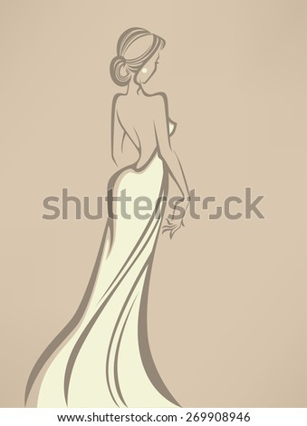 vector greeting card with image of romantic bride - stock vector