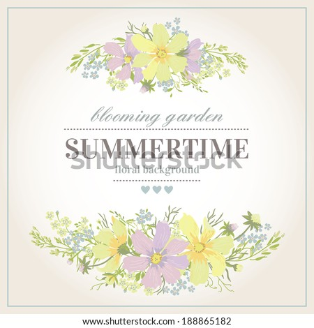Vector greeting card with l abstract flowers on a white background in pastel colors. Vintage background. - stock vector