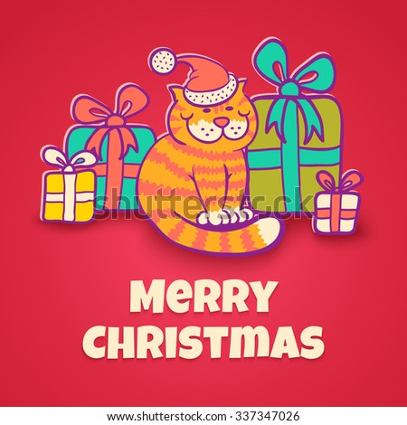 Vector greeting card with Santa cat for Christmas - stock vector