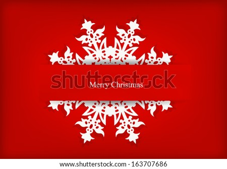 Vector greeting card with snowflake, dedicated to Merry Christmas and Happy New Year  - stock vector
