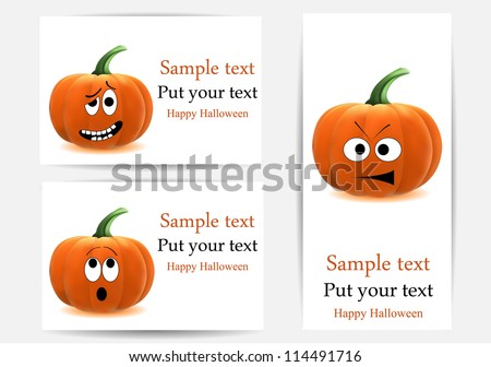 vector greeting cards with funny pumpkins, dedicated to Halloween - stock vector
