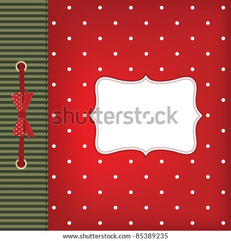 Vector greeting christmas card with bow. Space for your text or picture. - stock vector