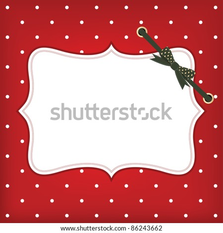 Vector greeting christmas card with frame and bow. Space for your text or picture. - stock vector