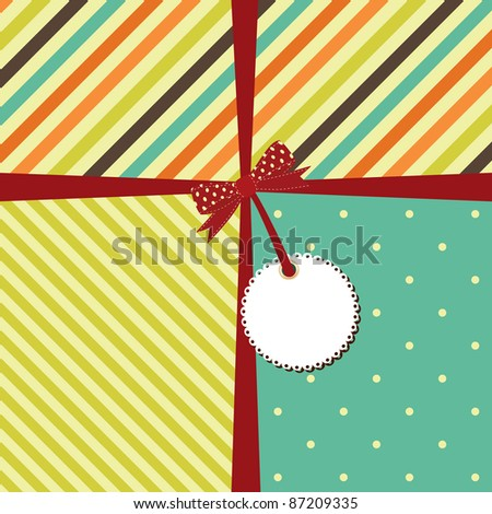 Vector greeting retro background with stripes and polka dots. - stock vector
