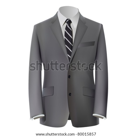 vector grey business suit with a tie - stock vector