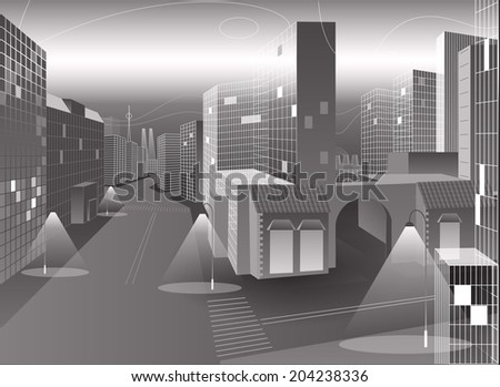 vector grey city  - stock vector
