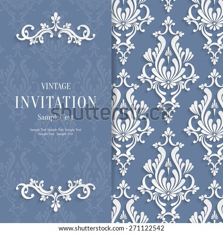 Vector Grey Floral 3d Christmas and Invitation Background Template - stock vector
